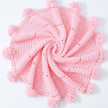 Home Decor Pompon Edge Crochet Knit Round Blanket