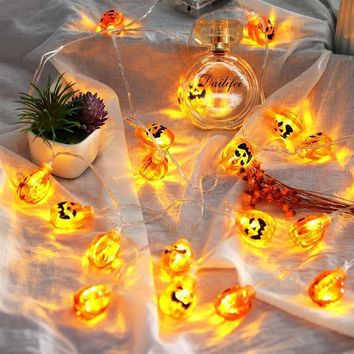 Battery Operated 3D Elliptical Pumpkin 10-LED 2.5m String Light for Halloween Decor
