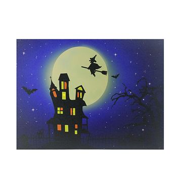 "Fiber Optic and LED Lighted Witch in the Moon Halloween Canvas Wall Art 12"" x 15.75"""
