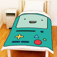 BMO Beemo The Adventure Time Bed Throw Fleece Blankets Unique Gift Large Medium