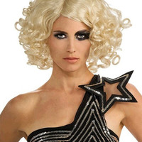 "Lady Gaga 14""?Chin Length Curly With Bangs Synthetic Wigs for Women Blonde"