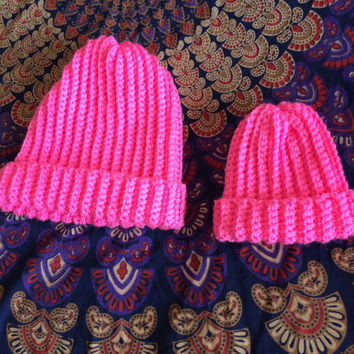 Mommy and Me Hat WINTER FALL GIFT Set Mommy and Baby Hat Set Women's Crochet Hat  Matching Hats Coordinating Hat Set
