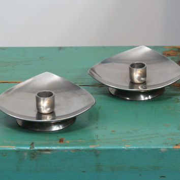 Selandia Denmark Candle Holders 18/8 Stainless Steel . Mid Century . Vintage Candlesticks . Matched Pair . Danish Modern . Reuleaux Triangle