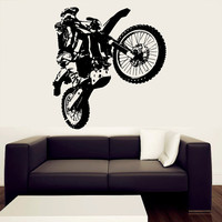 Wall Decal Vinyl Sticker Decals Art Decor Design Dirty Motocross Motorcycle Jumping Moto Sport Extrime Kids Children Cool Gift Bedroom(r517)