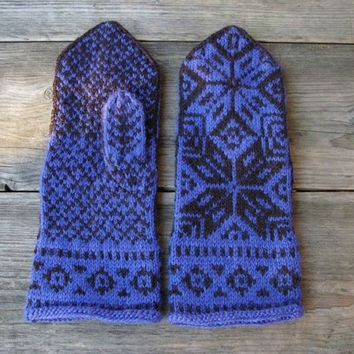 Blue Wool Mittens - BlueGloves with Stars - Mittens with Stars - Scandinavian Wool Mittens nO 43.