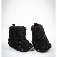 Black Fur Sequin Infant Boots