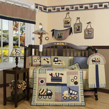 Baby Bedding 13-Piece Crib Bedding Sets with Bumper Included Baby Bundle,Construction