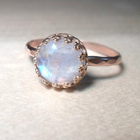 Rainbow Moonstone Ring- 14k Pink Rose gold stacking ring-Gemstone ring