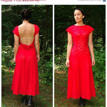 20% OFF SALE 1980's Sexy Red Lace Backless Nightgown. Maxi. Sheer Lingerie. Roses. Open Back. Medium M