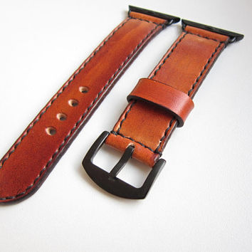 Brown Apple watch strap, black adapter, watch strap, leather watch strap, apple strap 38mm, apple watch band 38mm