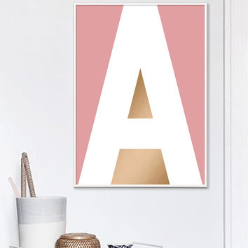 Copper Pink Letter A Print, Pink Monogram Letters, Baby Initial Printable Gift, a, A, Pink Letter A, Scandinavian Style Monogram