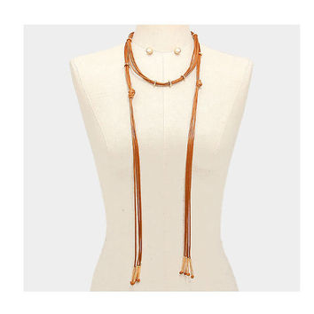 Long Brown & Gold Multi Strand Leather Tassel Cord Choker Necklace