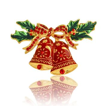 2017 Christmas gift jewelry alloy bell brooch,Red Rhinestone Brooch Pin for Christmas Gift Accessories