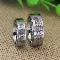 6MM/8MM Doctor Who His/Her Silver Tungsten Rings