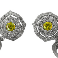 Diamond Earrings, Yellow Sapphire Earrings,Drop Chandelier Earrings,Wedding Earrings,Floral Earrings,14K White Gold,Vintage Earrings