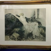 "Rare LOUIS ICART Paresse (Laziness) Etching, circa 1925 / 22"" x 29"" / Antique 1920s French Art Deco Etching / Original Gold Frame & Matting"
