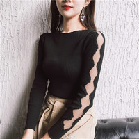 Autumn Slash Neck Knitted Women Tops Blusas Christmas Long Sleeve T Shirt Women Slim Solid Hollow Out Gauze Shirt Ropa Mujer
