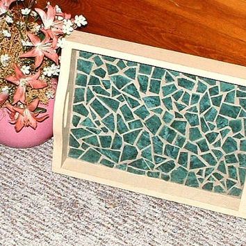 Green Mosaic Tile Tray Breakfast Patio Serving Drink Carry Vintage Wood With Handles