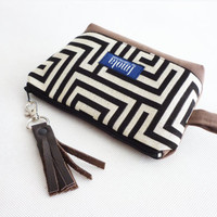 Cosmetic bag pouch pencil pouch beauty bag pencil case makeup bag zipper pouch greek labyrinth brown leather tassel