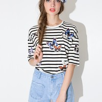 Butterfly striped patch top