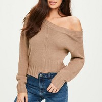 Missguided - Brown Deconstructed Crop Jumper