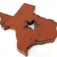 Texas State With Star cutout (Pictured in Brick) Pine Wood Sign Wall Decor Rustic Americana French Country Chic