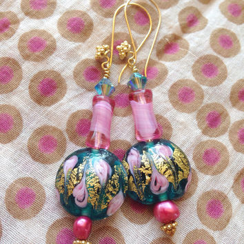 Pink Freshwater Pearl & Lampwork Glass drop earrings - Swarovski Crystal - 24Kt gold Vermeil earwires - Turquoise pink blue AB - granulated