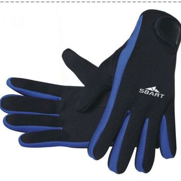 Men Women Keep Diving Gloves 3mm Neoprene Scuba Snorkeling Submersible Equipment Swim Ski Surfing Spearfishing Wet Suit Blue