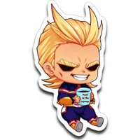 All Might Chibi Coffee Sticker Decal