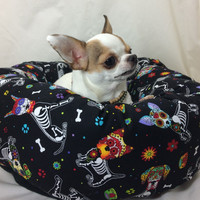 Sugar Skull Skeleton Dogs Round Pet Bed – Group One Dog Gallery®