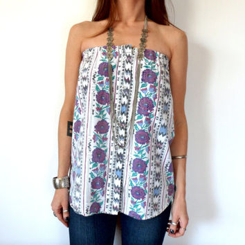 Southwestern Roses & Arrows Striped Upcycled Button Down Tube Top
