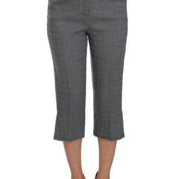 Dolce & Gabbana Gray Wool Stretch High Waist 3/4 Pants