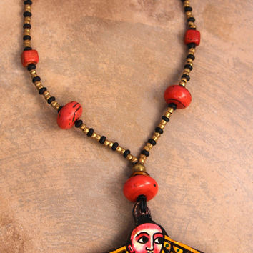 On Sale Ethiopian Icon Pendant Necklace Large Hand Painted Wood Icon w Vintage Tibetan Coral Sherpa Glass Beads Colorful Boho Ethnic Jewelry