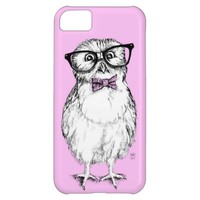 Nerdy owlet small but smart - pink background