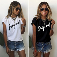 Women's Trending Popular Fashion Summer Beach Holiday White Short Sleeve Alphabets Words Casual Party Playsuit Clubwear Bodycon Boho Top Shrit T-Shirt T-Shirt _ 4401