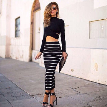 Black Long Sleeve Cropped Top and Striped Bodycon Maxi Skirt