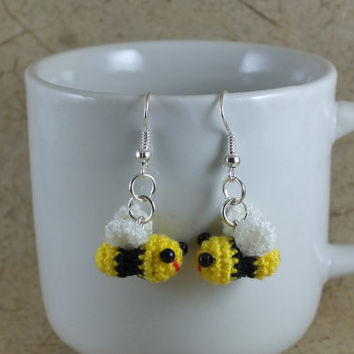 Miniature bee amigurumi dangle earrings