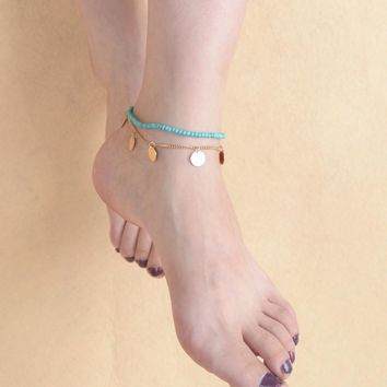 Gift Cute Sexy Ladies Shiny New Arrival Jewelry Double-layered Chain Stylish Metal Tassels Beach Anklet [6768754759]