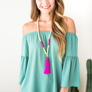 There For You Sage Off Shoulder Top