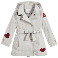Sonia Rykiel Girls Grey Coat with Red Patches
