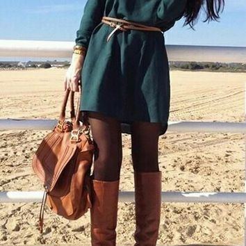 Casual Army Green Plain Draped Round Neck Fashion Polyester Mini Dress