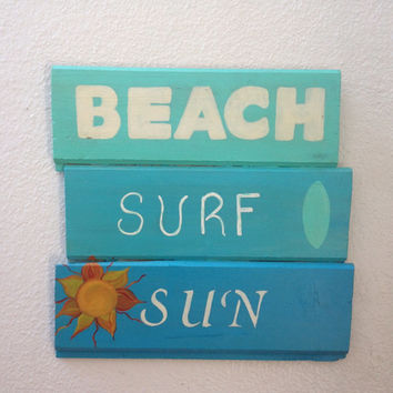 Reclaimed Wood Hand-Painted Sign Beach Surf Sun indoor/outdoor