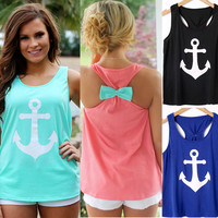 Fashion Women Anchor Casual Fancy Sleeveless Shirt Bowknot Summer Simple Vest Sexy Top T-Shirt Backless Sports