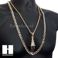 """ICED OUT PLUG CHARM ROPE CHAIN DIAMOND CUT 30"""" CUBAN CHAIN NECKLACE SET G7"""