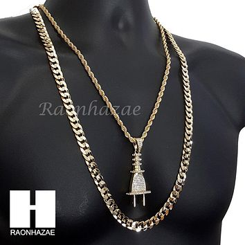 "ICED OUT PLUG CHARM ROPE CHAIN DIAMOND CUT 30"" CUBAN CHAIN NECKLACE SET G7"