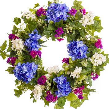 Blue and White Hydrangea Everyday Wreath (SW025)