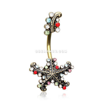 Golden Antique Starfish Sparkle Belly Button Ring (Rainbow)