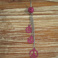 Belly Button Ring - Body Jewelry - Pink and Black Dangling Peace Signs Belly Ring