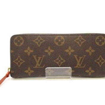 Auth LOUIS VUITTON Portefeuille Clmence M61536 Poppy Monogram Canvas