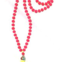 Neon Pink and Yellow Tassel Necklace